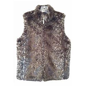 GUESS Sz S Vegan Reversible Fur Brown /Gray Vest